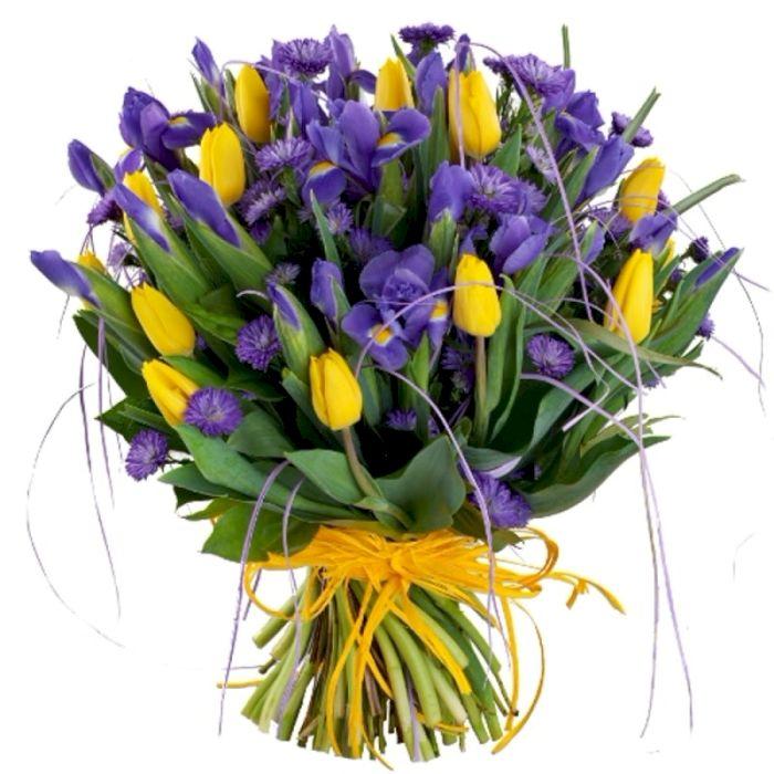 Свадебные букеты из 9 тюльпанов и ирисов